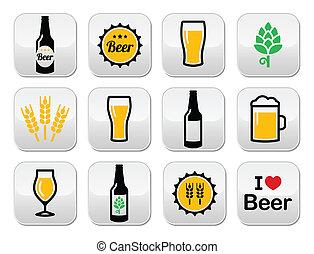 bottoni, birra, vettore, set, colorito