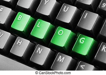 bottoni, blog, parola scritta, tastiera