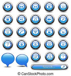 bottoni blu, set