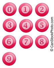 bottoni, con, numeri