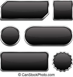 bottoni, cornice, nero, metallico
