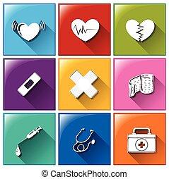 bottoni, differente, materiali, medico