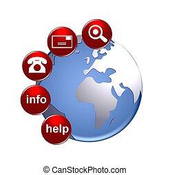 bottoni, globo, contatto, illustrazione