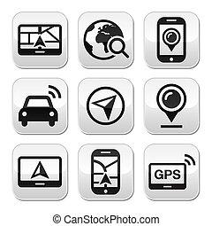 bottoni, gps, viaggiare, navigazione