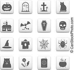 bottoni, halloween, set, icone, web