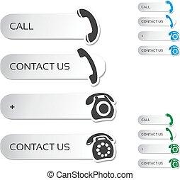 bottoni, icone, -, telefono, simboli, vettore, chiamata, contatto