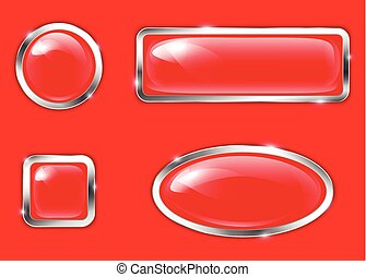 bottoni, lucido, rosso