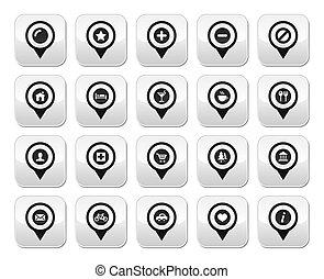 bottoni, mappa, posizione, marcatori