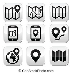 bottoni, mappa, viaggiare, set