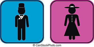 bottoni, maschio, femmina