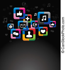 bottoni, media, luminoso, fondo, sociale