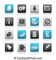 bottoni, media, metallina, /, sociale