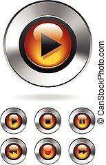 bottoni, media, musica, giocatore mp3