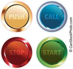 bottoni, metallo, rotondo, colorito