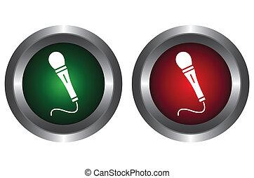 bottoni, microfono, due