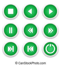 bottoni, musica, set, verde