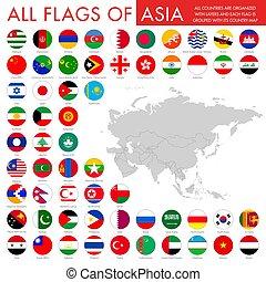 bottoni, nazionale, set, bandiera, asiatico