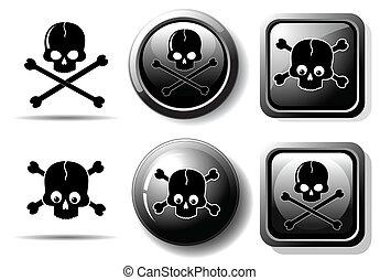 bottoni, nero, cranio, segno
