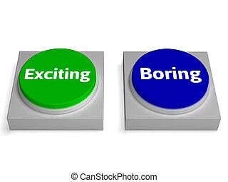 bottoni, noioso, uscire, eccitamento, noia, o, mostra
