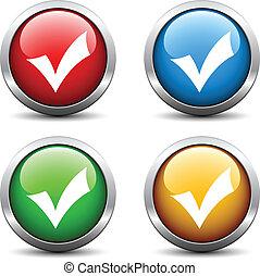 bottoni, positivo, checkmark, vettore