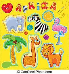 bottoni, set, animali, immagine, africa, -, mano fece, parola, immagini, lettere, disinserimento, chilfren, cartone animato