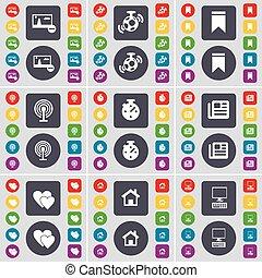 bottoni, set, colorato, appartamento, cuore, pennarello, grande, altoparlante, simbolo., casa, cronometro, wi-fi, pc, vettore, giornale, immagine, icona, tuo, design.