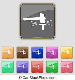 bottoni, set, colorato, stithy, segno., forgia, smithy., luogo., undici, vettore, maniscalco, tuo, icona