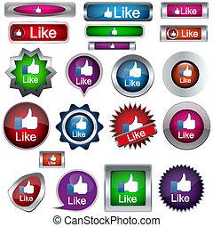 bottoni, set, come, icone