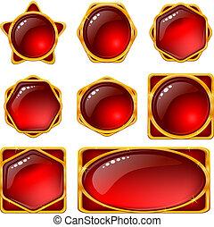 bottoni, set, gemme, rosso