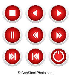 bottoni, set, musica, rosso