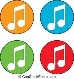 bottoni, set, musica