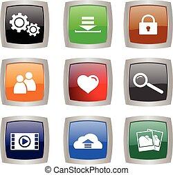 bottoni, set, simboli, nove, lucido, internet, tecnologia
