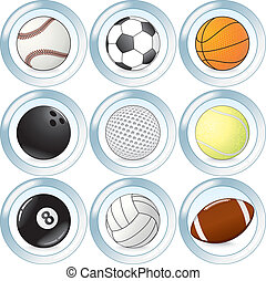 bottoni, set, vettore, palle, sport