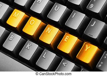 bottoni, soldi, parola scritta, tastiera