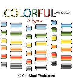 bottoni, stile, colorato, lucido, retro