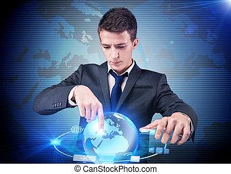 bottoni, uomo affari, concetto, urgente, calcolare