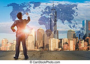 bottoni, uomo affari, concetto, urgente, futuristico