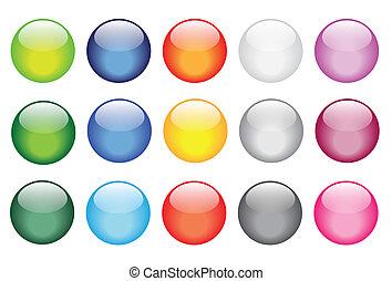 bottoni, vetro, baluginante, lucido, icone