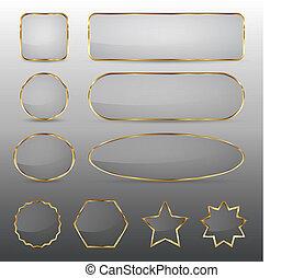 bottoni, vetro, cornice, oro, vuoto