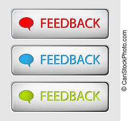 bottoni, vettore, feedback