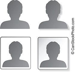 bottoni, vettore, icone, -, membro, umano, avatar, utente