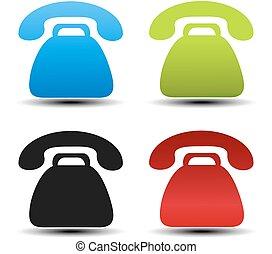 bottoni, vettore, vecchio, blu, telefono, semplice, etichette, telefono, color., simboli, fondo., contatto, nero, verde, bianco, stickers., rosso