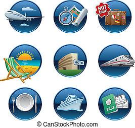 bottoni, viaggiare, set, icona