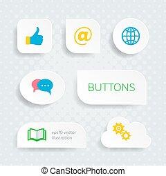 bottoni, web, bianco, multimedia, icone