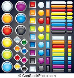 bottoni, web, immagine, icone, collezione, vettore, sbarre.
