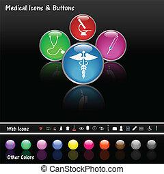 bottoni, web, medico