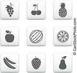 bottoni, web, vettore, icone, frutta