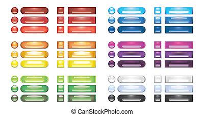 bottoni, web, vuoto, collezione, arcobaleno