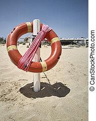 bouée vie, plage, pendre