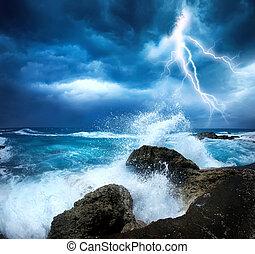 bouře, oceán